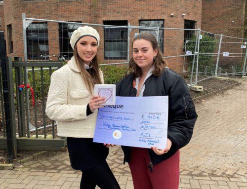 Sofia en Caitlin halen € 440 op met het verkopen van chocolade hartjes naar aanleiding van Wereldkinderkankerdag op 15 februari!